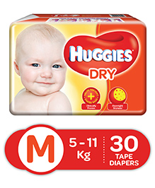 Huggies Dry Diapers Medium - 30 Pieces