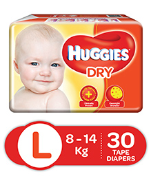 Huggies Dry Taped Diapers Large Size - 30 Pieces