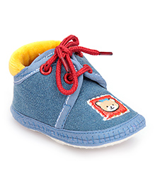Cute Walk Denim Booties With Lace Small - Blue And Yellow