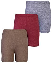 Babyhug Shorts Melange Solid - Set of 3