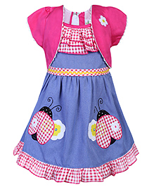 Babyhug Short Sleeves Frock Bee Patch - Blue And Pink