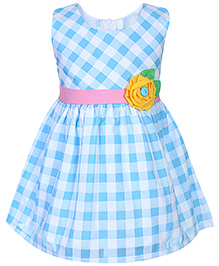 Babyhug Sleeveless Frock Checks Print And Flower Applique - Blue
