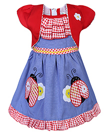 Babyhug Short Sleeves Frock Bee Patch - Blue And Red