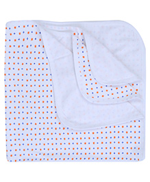 Babyhug Baby Towel Star Print - Orange And Blue