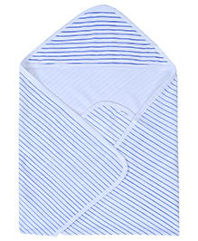 Babyhug Terry Based Hooded Towel Striped Print - Blue