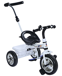 Tricycle With Push Handle And Rear Basket - White And Black