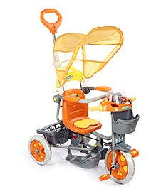 Baby Tricycle With Push Handle Robot Design - Orange And Yellow