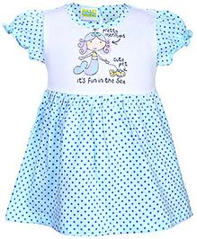 Babyhug Ruffled Sleeves Frock Dots Print - Sky Blue