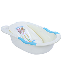Baby Bath Tub Happy Day Print - White And Blue