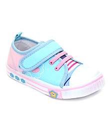 Bash Casual Shoes Flower Design - Sky Blue And Pink