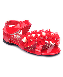 Bash Party Sandals Pearl And Stone Design - Red