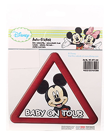 Disney International Classic Mickey Mouse Baby On Tour Car Sticker - Red