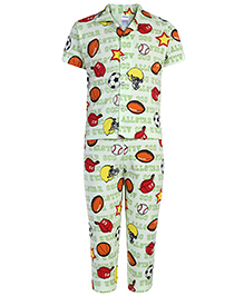 Ollypop Half Sleeves Night Suit Star Print - Green