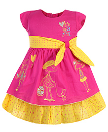 Babyhug Short Sleeves Frock Embroidery And Dots Print - Pink