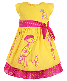 Babyhug Short Sleeves Frock Embroidery And Dots Print - Yellow