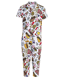 Ollypop Half Sleeves Night Suit Multiprint - White