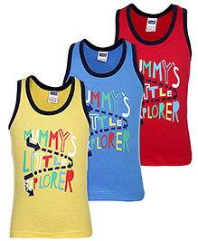 Simply Sleeveless Vests Printed Multi Colour - Set Of 3 - 6 To 12 Months