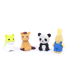 Animal Shape Eraser Pack of 4 - White And Beige