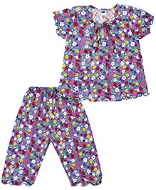 Teddy Short Sleeves Night Suit Floral Print - Multi Color
