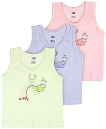 Zero Sleeveless Vest Happy Print Multi Color - Set Of 3 - 6 Months