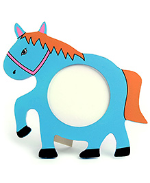 Wooden Photo Frame Stand Horse Shape - Blue