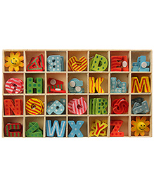 Wooden Box With Alphabets - Multicolor