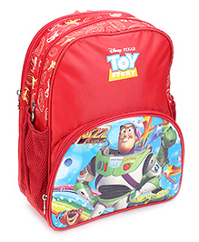 Toy Story Cartoon Print School Bag Red - 14 Inches