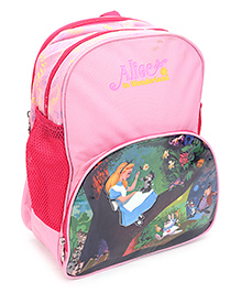 Alice In Wonderland Backpack Graphics Print Light Pink - 14 Inches