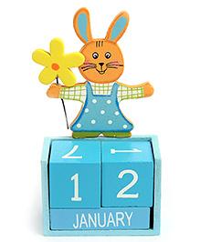 Calender Rabbit With Flower Design - Blue