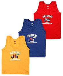 Zero Sleeveless Vest Champ Print Multi Colour - Set Of 3 - 6 Months
