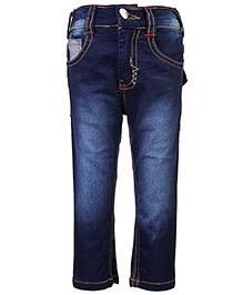 Babyhug Jeans Sport Print On Back Pocket - Dark Blue