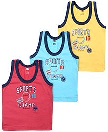 Zero Vests Sports Champ Print Multi Colour - Set Of 3 - 6 Months