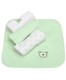 Piccolo Bambino Deluxe Wash Cloths Pack of 4 - Green