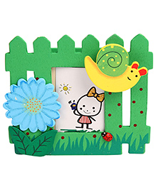 Wooden Pen Stand With Photo Frame Flower And Snail Design - Green