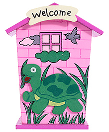 Tortoise Design Wooden Piggy Box - Pink