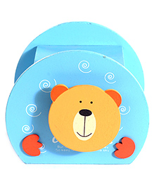 Wooden Piggy Box Bear Face Design - Blue