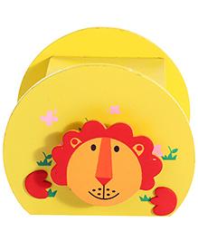 Wooden Piggy Box Lion Face Design - Yellow