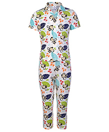 Ollypop Half Sleeves Night Suit Leaves And Monkey Print - Off White Base