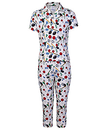 Ollypop Half Sleeves Night Suit Numbers And Sports Ball Print - Off White Base