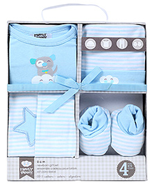 Honey Bunny Baby Layette Gift Set Pack of 4 - Blue