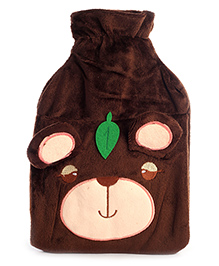 Plush Hot Water Bag Bear Face Design - Coffee Brown And Peach