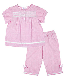 ShopperTree Half Sleeve Night Suit Stripes Pattern - Pink