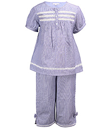 ShopperTree Half Sleeve Night Suit Stripes Pattern - Blue