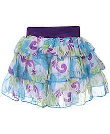 Babyhug Layer Skirt Multi Print - Purple And Sky Blue