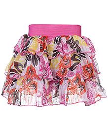 Babyhug Layer Skirt Leaves Print - Pink