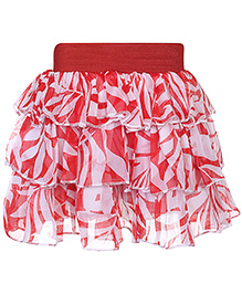 Babyhug Layer Skirt Leaves Print - Red And White