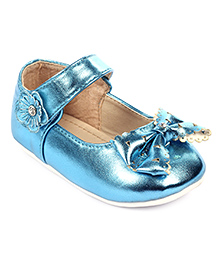 Cute Walk Belly Shoes With Velcro Closure Bow Applique - Blue