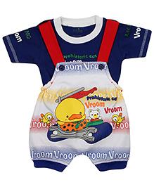 Babyhug Dungaree With T-Shirt Duck Design - Blue