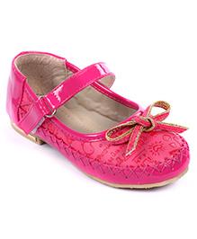 Cute Walk Bellies Velcro Closure Bow Applique - Fuchsia Pink