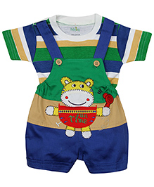 Babyhug Dungaree With Half Sleeves T-Shirt Tiger Embroidery - Green And Blue - 3 To 6 Months
